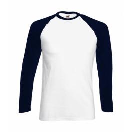 Ενδυση Εργασιας - Μακρυμάνικο Baseball T-Shirt Fruit Of The Loom, VALUEWEIGHT 61-028-0 λευκό/deep navy T-Shirts Ενδυση Εργασιας - nolimit.gr
