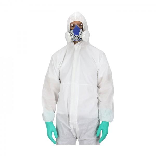 προστασια COVID-19 - Ολόσωμη Φόρμα Προστασίας Ιατρών Νοσηλευτών Πολλαπλών Χρήσεων Από Μη Υφασμένο Υλικό, NL205 λευκή Ολόσωμες Ενδυση Εργασιας - nolimit.gr