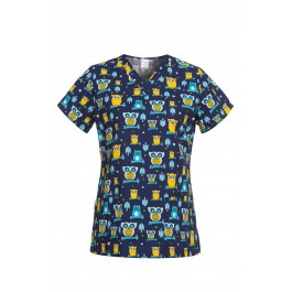 Ιατρών Νοσηλευτών Αισθητικών μπλούζα γυναικεία medical BAMBINA κουκουβάγιες B-WELL Ιατρικές - Εργαστηρίου Ενδυση Εργασιας - nolimit.gr