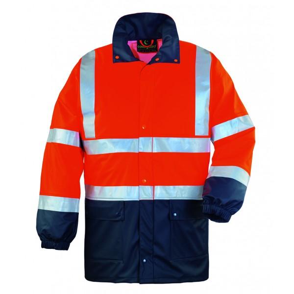 Ενδυση Εργασιας - Μπουφάν Αδιάβροχο Hi-Viz Coverguard, HARBOR πορτοκαλί/μπλε navy Σακάκια - Μπουφάν Ενδυση Εργασιας - nolimit.gr
