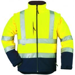 Ενδυση Εργασιας - Μπουφάν Softshell Hi-Viz Με Αποσπώμενα Μανίκια Coverguard, STATION κίτρινο/μπλε navy Σακάκια - Μπουφάν Ενδυση Εργασιας - nolimit.gr