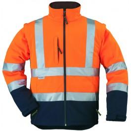 Ενδυση Εργασιας - Μπουφάν Softshell Hi-Viz Με Αποσπώμενα Μανίκια Coverguard, STATION πορτοκαλί/μπλε navy Σακάκια - Μπουφάν Ενδυση Εργασιας - nolimit.gr