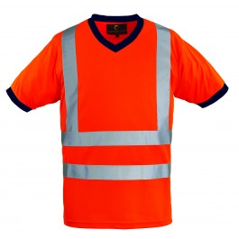 Μπλουζάκι T-Shirt Με Λαιμόκοψη V Coverguard, YARD 7YAVO πορτοκαλί με ανακλαστικές Υψηλής Ορατότητας Ενδυση Εργασιας - nolimit.gr