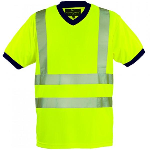 Μπλουζάκι T-Shirt Coverguard Με Λαιμόκοψη V, YARD 7YAVY κίτρινο με ανακλαστικές Υψηλής Ορατότητας Ενδυση Εργασιας - nolimit.gr