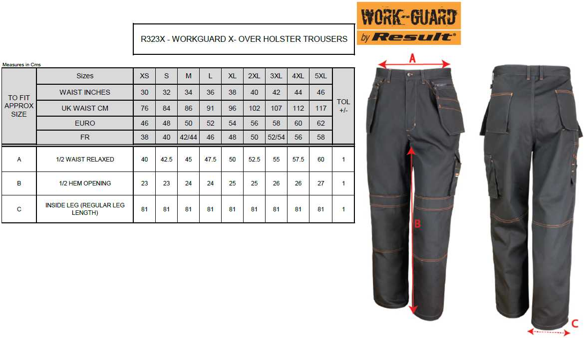 Work Trousers Waist Pants Lite X-Over Holster Trouser result R323X Size XS-5XL Black
